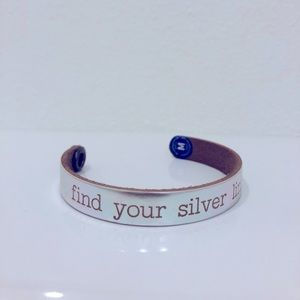 """Find your silver lining"" leather bracelet"
